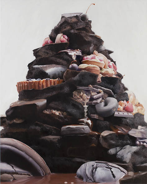 Will Cotton, Trash Pile, 2012, oil on linen, 60 x 40 inches